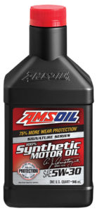 AMSOIL 5W30 Signature Series Synthetic Motor Oil.