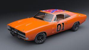 Number 1 orange Dodge Charger.