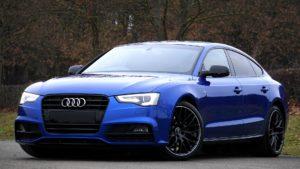 Blue Audi sports car.