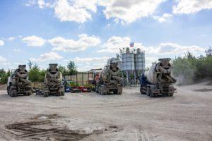 Fleet of cement trucks.