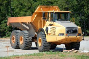 Yellow dump truck.