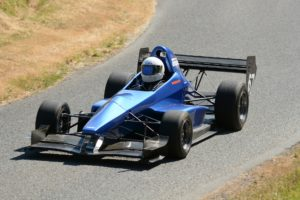 Blue single seater race car.