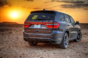 Dodge SUV in desert.