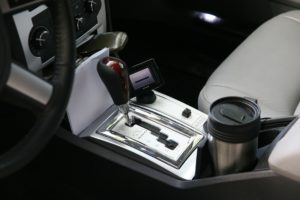 Car interior with an automatic transmission system.