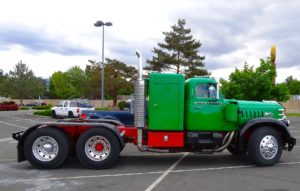 Green diesel truck.