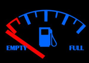 Gas meter showing empty and full.