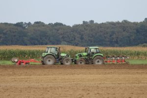 Farm tractors.