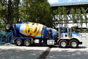 Concrete mixing truck.