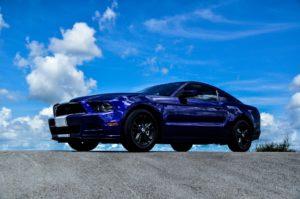 Blue Mustang car.