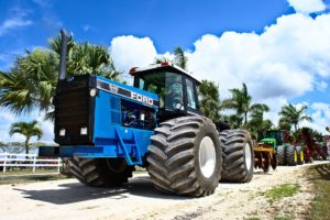 Large blue Ford tractor.