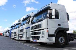 Volvo semi truck fleet.