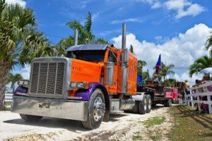 Orange semi truck.