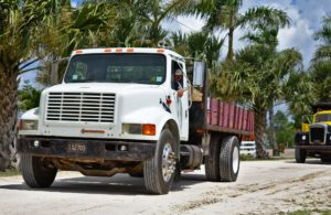 White transportation diesel truck.