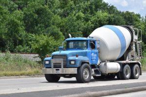 Blue cement truck.