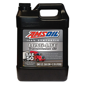 AMSOIL SAE 50 Long-Life Synthetic Transmission Oil.