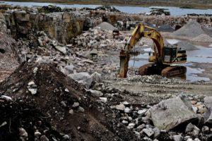 Quarry excavator drill.