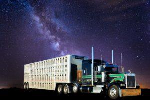 Semi truck under the stars.