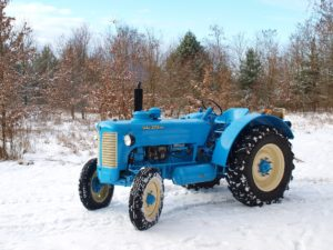 Tractor in the snow.
