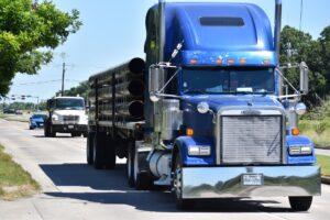 Blue diesel truck.