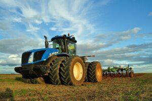 Blue farm tractor.